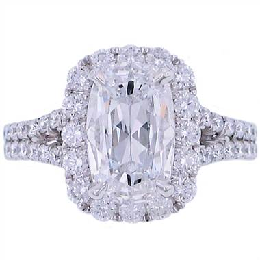 Henri Daussi AMDS347C Henri Daussi Halo Design Cushion Cut Diamond Engagement Ring with Split Shank at Solomon Brothers