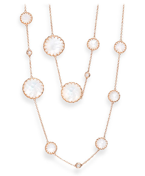 Ivanka Trump mother-of-pearl and diamond 36-inch station necklace in 18k rose gold