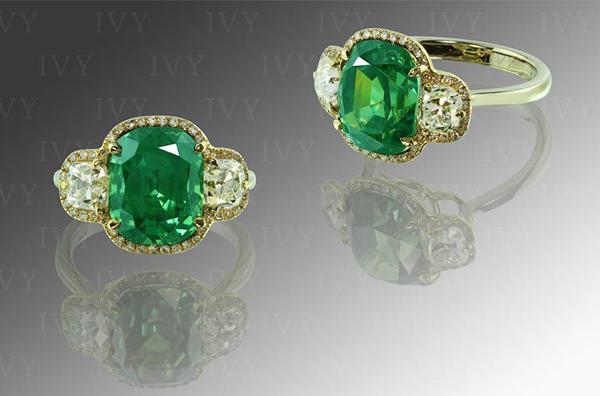 6.35-carat demantoid garnet and diamond ring by Ivy New York