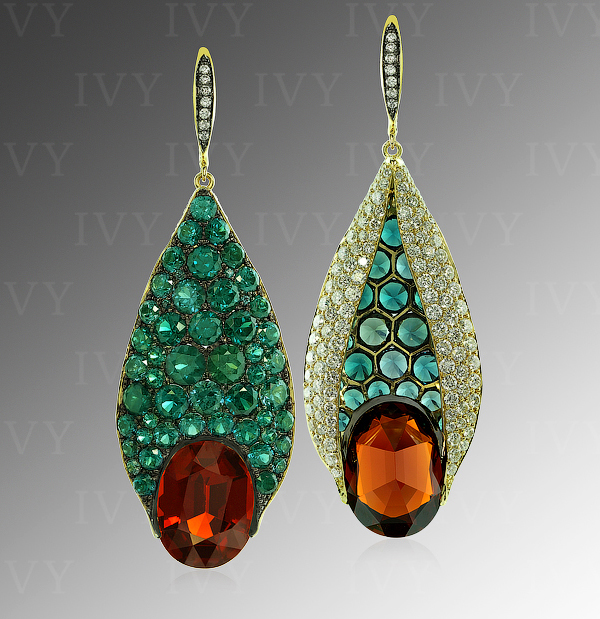 Spessartite (17.31 carats), color-change garnet (13.10 carats), and diamond earrings by Ivy New York
