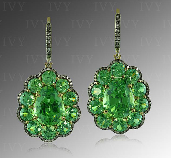 Tsavorite (8.66 carats), Demantoid (6.14 carats), and diamond earrings by Ivy New York