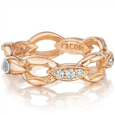 "Tacori 18K925 SR184P Tacori 18K925 ""The Ivy Lane"" Rose Gold Stackable Ring with Pave Set Diamonds by Solomon Brothers"