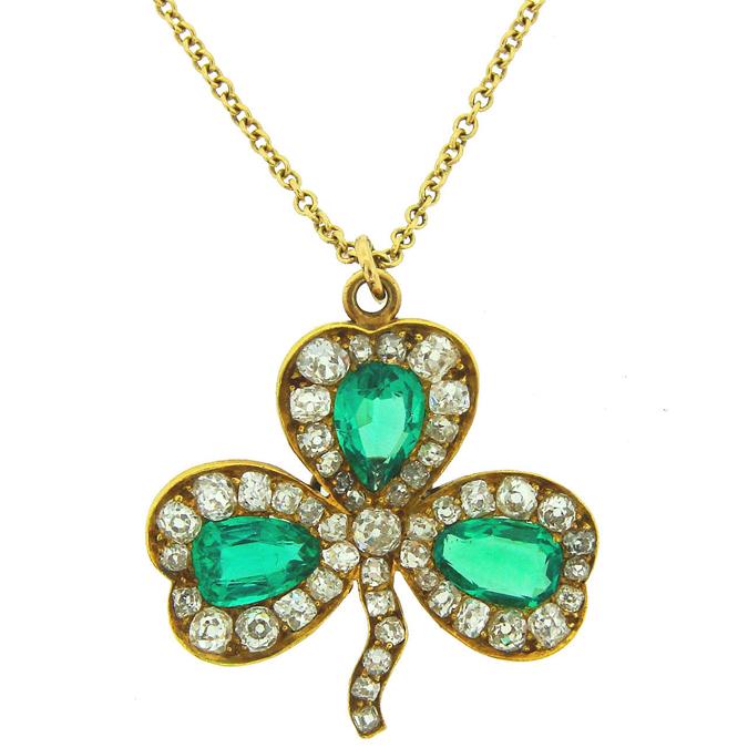 930's J.E. Caldwell Emerald Clover Pendant from Nadine Krakov