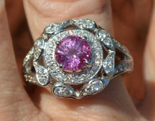 Catmom's Unique Pink Sapphire Halo Ring (Top View) - image by Catmom