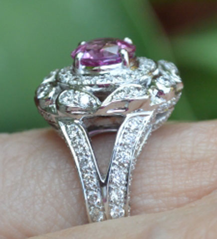 Catmom's Unique Pink Sapphire Halo Ring (Side View) - image by Catmom