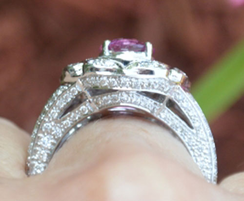 Catmom's Unique Pink Sapphire Halo Ring (Side2 View) - image by Catmom