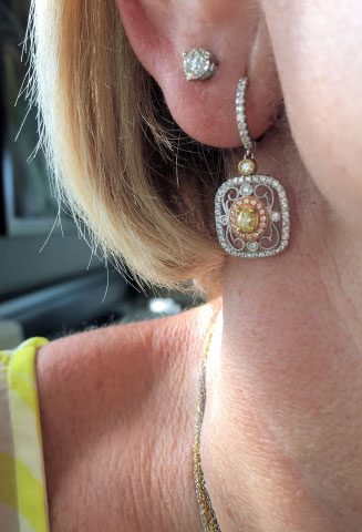 Catmom's Simon G. Vintage Inspired Earrings (Ear View) - image by Catmom