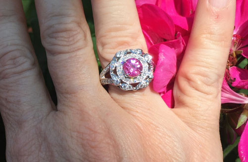 Catmom's Unique Pink Sapphire Halo Ring (Hand View) - image by Catmom