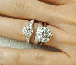 Charlize's Upgrade 4.01 Carat Classic Tiffany Inspired Engagement Ring (Top View) - image from Charlize