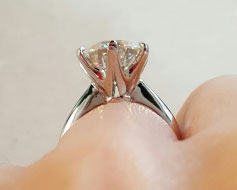 Charlize's Upgrade 4.01 Carat Classic Tiffany Inspired Engagement Ring (Side View 1) - image from Charlize