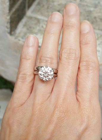 Charlize's Upgrade 4.01 Carat Classic Tiffany Inspired Engagement Ring (Hand View) - image from Charlize