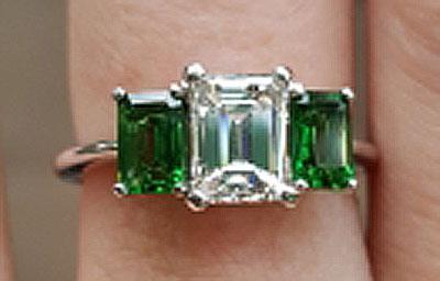 LawmaLlama's Three Stone Emerald Cut Diamond and Tsavorite Ring  (Top View) - image by LawmaLlama