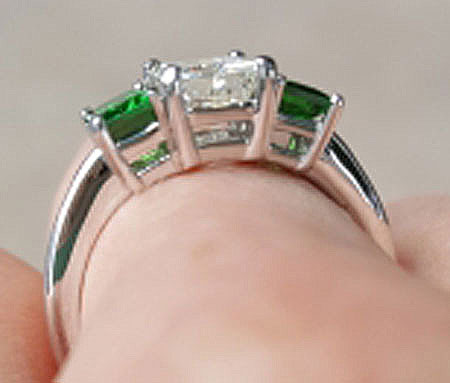 LawmaLlama's Three Stone Emerald Cut Diamond and Tsavorite Ring  (Side View) - image by LawmaLlama