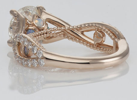 Medphysdave's Unique Twisted Shank Engagement Ring (Bottom Angled View) - image by Steven Kirsch