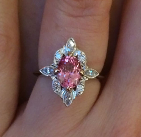 NKOTB's Padparadscha Sapphire of Orangy Pink Ring (Top View) - image by NKOTB