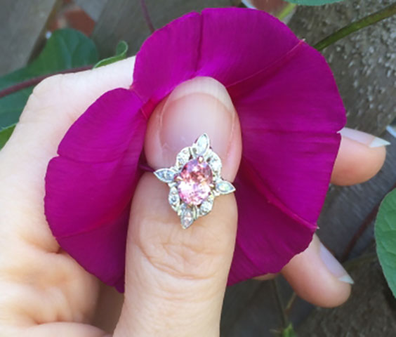 NKOTB's Padparadscha Sapphire of Orangy Pink Ring (Flower View) - image by NKOTB