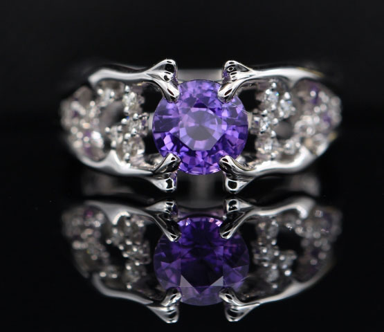 OTL's 1.55 Carat Unheated Purple Sapphire Ring (Top View) - image from OTL