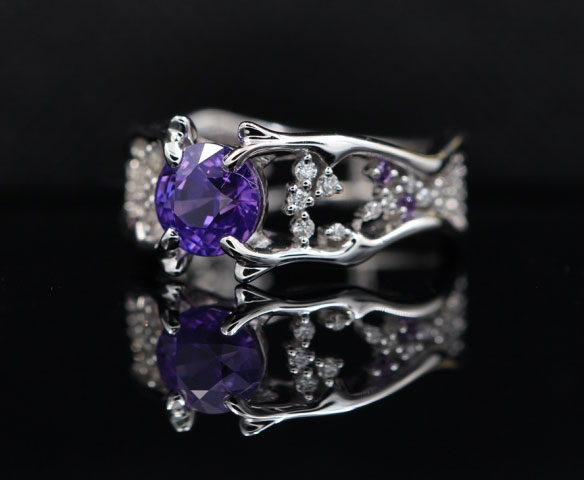 OTL's 1.55 Carat Unheated Purple Sapphire Ring (Side Angle View) - image from OTL