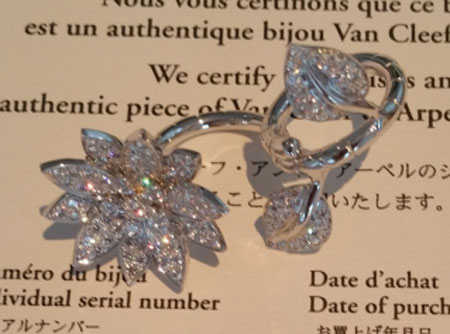 Phoenix's Van Cleef & Arpels Lotus Between The Finger Ring (Top Angle View) - image by Phoenix
