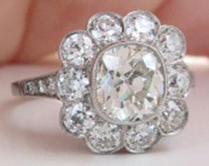 RaiKai's Vintage Cushion Flower Cluster/Halo Ring (Angled-Front View) - image by RaiKai