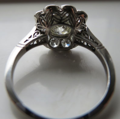 RaiKai's Vintage Cushion Flower Cluster/Halo Ring (Angled-Side View) - image by RaiKai