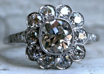 RaiKai's Vintage Cushion Flower Cluster/Halo Ring (Front View) - image by Gold Adore