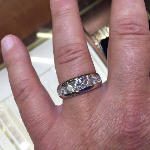 Rod S Men Bling Wedding Rings Top Hand View 2