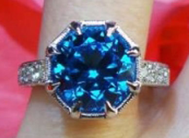 Rothschild55's Antique Cut Round Electric Blue Topaz Ring (Top View) - image by David Klass