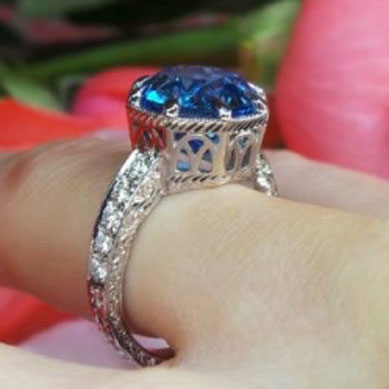 Rothschild55's Antique Cut Round Electric Blue Topaz Ring (Side Angle View) - image by David Klass