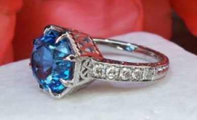 Rothschild55's Antique Cut Round Electric Blue Topaz Ring (Top Angle View) - image by David Klass