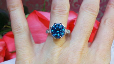 Rothschild55's Antique Cut Round Electric Blue Topaz Ring (Hand View) - image by David Klass