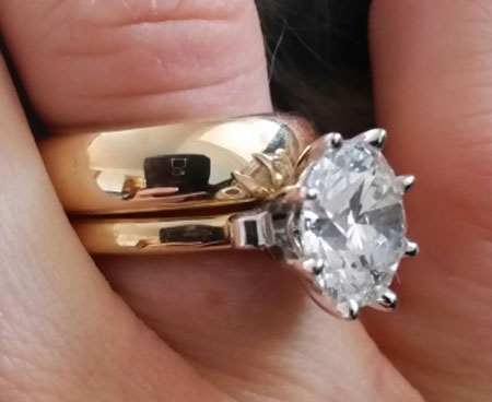 Scandinavian's 10 Year Wedding Anniversary Gift - 5 Carat Diamond (Angle/Hand View) - image by Scandinavian
