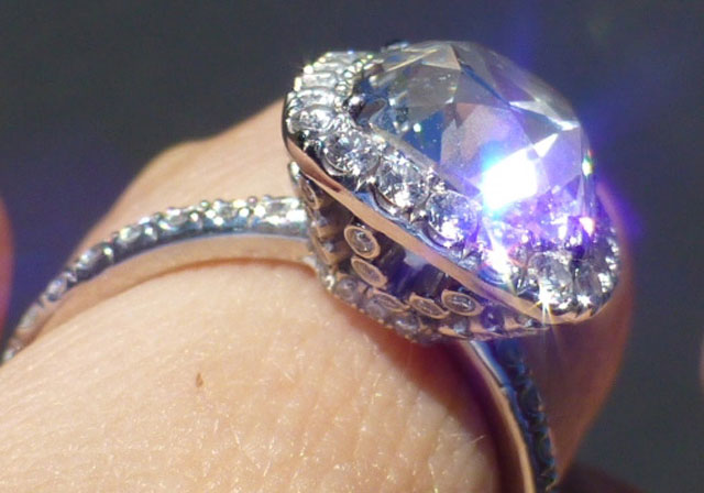Tarrotka's True Antique Cushion Halo Ring (Angle View) - image by Tarrotka