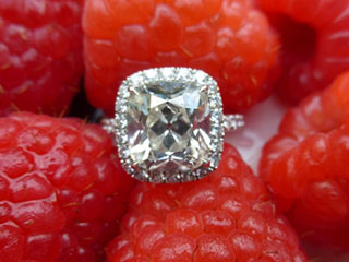 Tarrotka's True Antique Cushion Halo Ring (Top View) - image by Tarrotka