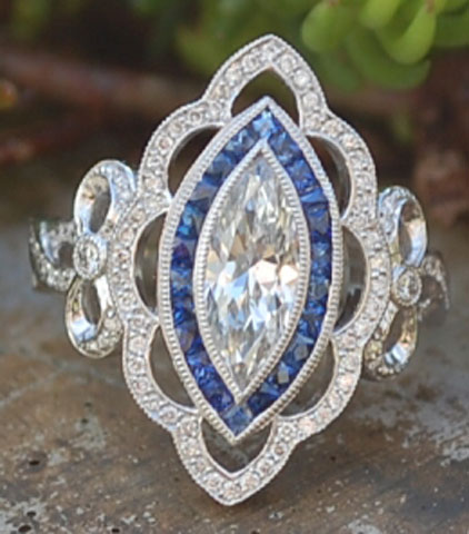 artdecolover71's Vintage Marquise Pave Diamond and Sapphire Halo Ring (Top View) - image by artdecolover71