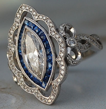 artdecolover71's Vintage Marquise Pave Diamond and Sapphire Halo Ring (Angled Top View) - image by artdecolover71