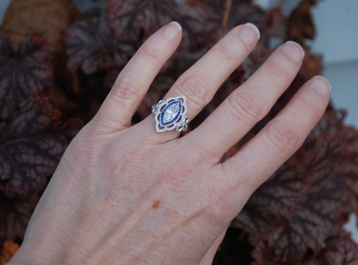 artdecolover71's Vintage Marquise Pave Diamond and Sapphire Halo Ring (Hand View) - image by artdecolover71