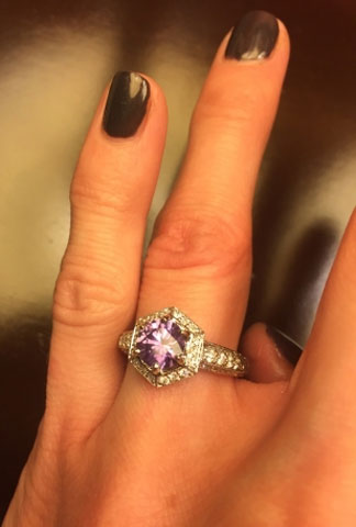 benjdow's Montana Sapphire Engagement Ring (Hand with Purple View) - image by benjdow