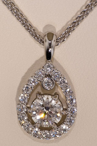 binky5450's Pear Halo with Round Center Diamond Pendant (Front View) - image by Wink Jones