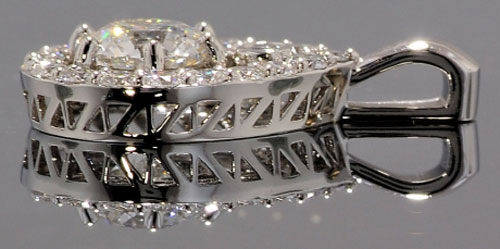 binky5450's Pear Halo with Round Center Diamond Pendant (Side View) - image by Wink Jones