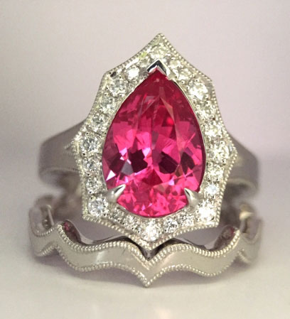 distracts's 2.15 Carats Mahenge Spinel Scalloped Halo Ring (Top View) - image by distracts