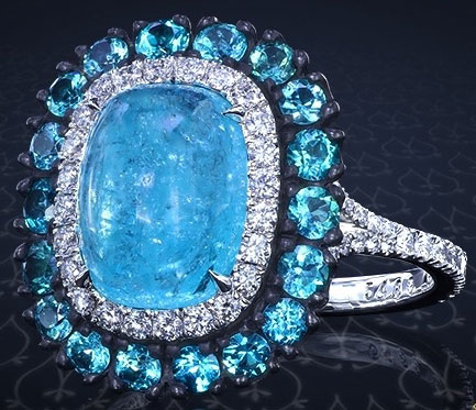 doberman's Split Shank Oval Paraiba Tourmaline Cabochon Ring (Top Angled View) - image by Leon Megé