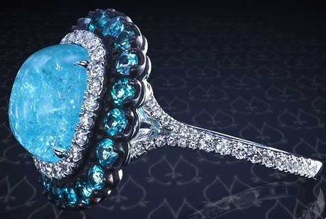 doberman's Split Shank Oval Paraiba Tourmaline Cabochon Ring (Side View) - image by Leon Megé