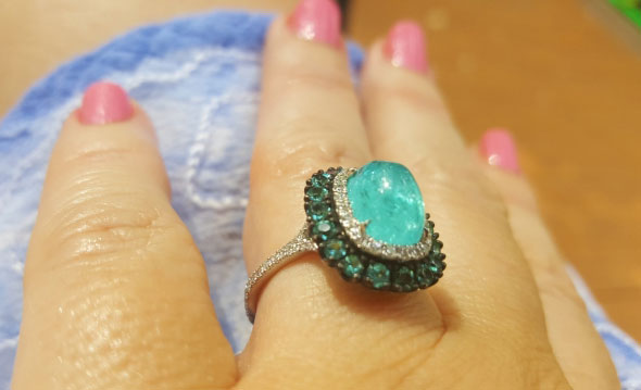 doberman's Split Shank Oval Paraiba Tourmaline Cabochon Ring (Hand View) - image by doberman
