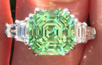 endless_summer's 1 Year Wedding Anniversary Gift – Asscher Mint Garnet (Top View) - image by endless_summer