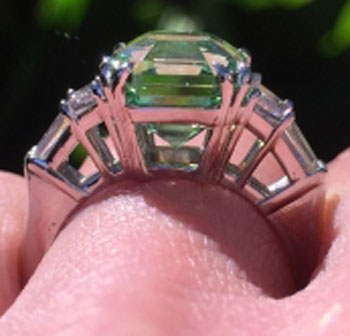 endless_summer's 1 Year Wedding Anniversary Gift – Asscher Mint Garnet (Side View) - image by endless_summer