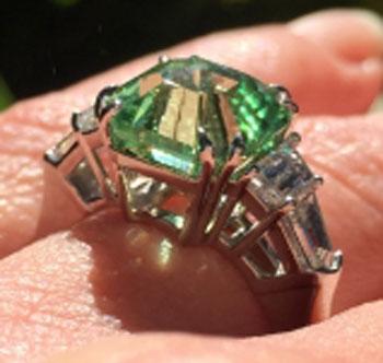 endless_summer's 1 Year Wedding Anniversary Gift – Asscher Mint Garnet (Angle View) - image by endless_summer