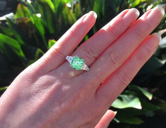 endless_summer's 1 Year Wedding Anniversary Gift – Asscher Mint Garnet (Hand View) - image by endless_summer
