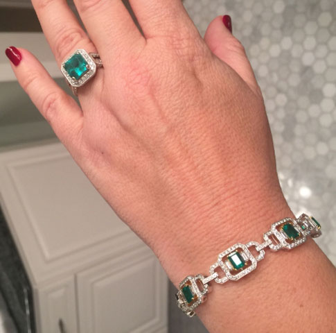 grateful4life's Emerald Ring and Bracelet Set (Top View) - image by grateful4life
