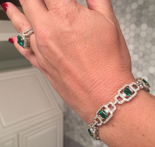 grateful4life's Emerald Ring and Bracelet Set (Angle View) - image by grateful4life